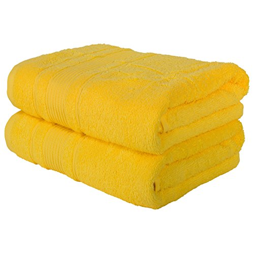 2 Pack Bath Towels Set | Premium Quality Luxury Turkish Cotton Absorbent and Super Soft - Yellow