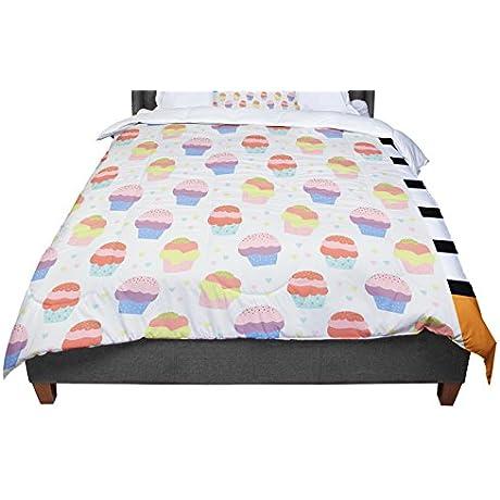 KESS InHouse Cristina Bianco Design Cupcakes Yellow Food Queen Comforter 88 X 88