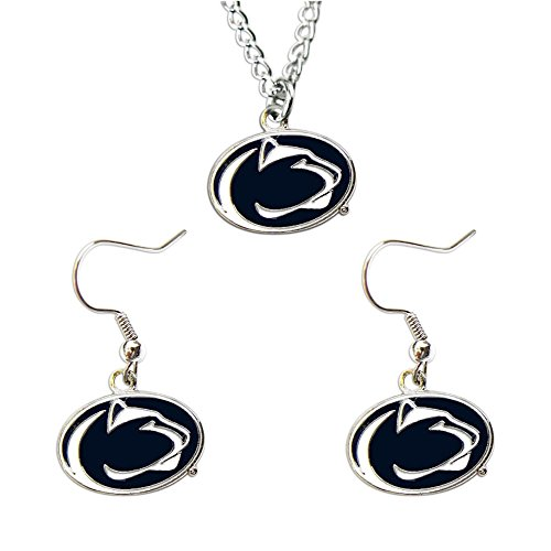 NCAA Penn State Nittany Lions Logo Dangle Earrings and Pendant Necklace Set, Team Color
