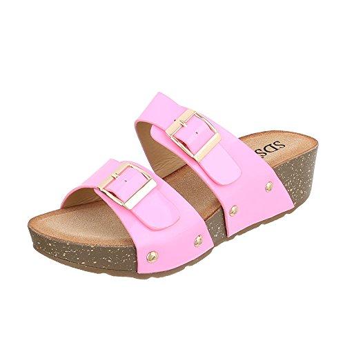 Ital-Design - zapatillas de baile (jazz y contemporáneo) Mujer Rosa