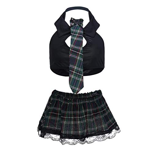 Big Sale Yetou Women Lingerie Fashion Sexy Uniform Vest Lattice Miniskirt Tie Set Clubwear Black