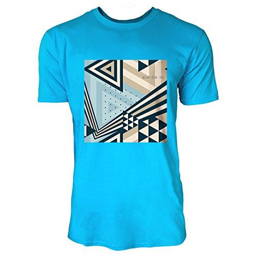 SINUS ART ® Abstraktes geometrisches Muster – Blau 1 Herren T-Shirts in Karibik blau Cooles Fun Shirt mit tollen Aufdruck