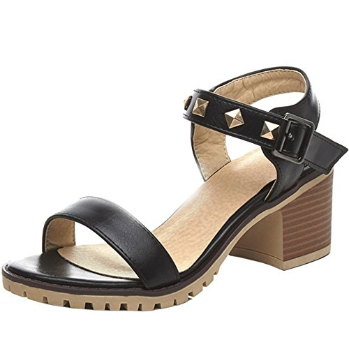 Toe Rivets Fashion Women TAOFFEN Black Heel Slingback Buckle Open Mid Block Sandals RHaUwq