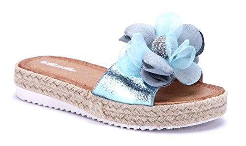 Schuhtempel24 Damen Schuhe Pantoletten Sandalen Sandaletten Flach Blumenapplikation/Ziersteine Blau