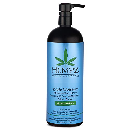 Hempz Triple Moisture-Rich Herbal Whipped Creme Conditioner and Hair Mask for Women and Men, 33.8 oz. - Premium, Natural Moisturizing Conditioners to Repair Dry, Damaged Hair - Scented Hair Care