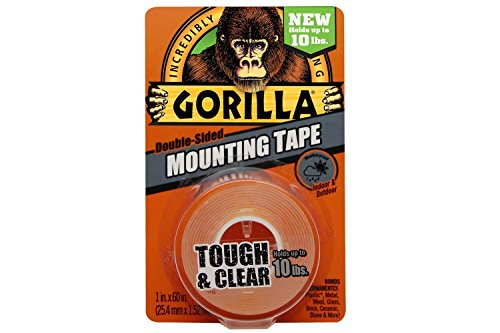 Gorilla Mounting Tape, Double-Sided, Tough and Clear 1'' x 60'', Clear - 36 Pack by Gorilla Glue