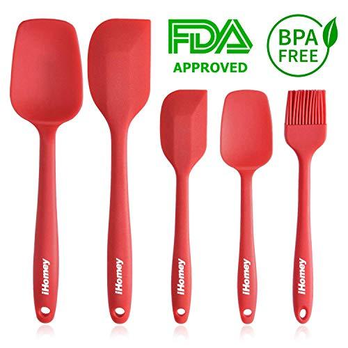 iHomey Silicone Spatulas Set - 446ºF Heat-Resistant Rubber Baking Spatulas/Spoons/Brush - Seamless One-Piece Design - Nonstick - Easy to Clean - Dishwasher Safe - Kitchen Utensil Set (5-Piece Red)