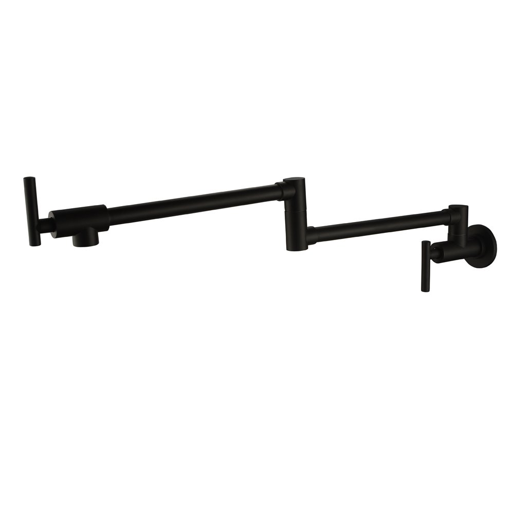 Sprinkle Wall Mounted Brass Kitchen Faucet Pot Filler Double Joint Spout Oil Rubbed Bronze (Black)