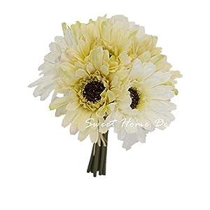 Sweet Home Deco 8'' Silk Artificial Gerbera Daisy Flower Bunch (W/ 7stems, 7 Flower Heads) Home/Wedding (Cream/White) 118