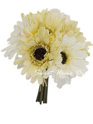 Sweet Home Deco 8'' Silk Artificial Gerbera Daisy Flower Bunch (W/ 7stems, 7 Flower Heads) Home/Wedding (Cream/White) ()