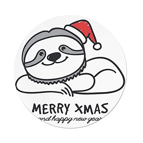 iPrint Polyester Round Tablecloth,Sloth,Smiling Cute Sloth Christmas Hat Merry Xmas Happy New Year Celebration Decorative,Grey Red Black,Dining Room Kitchen Picnic Table Cloth Cover Outdoor Ind