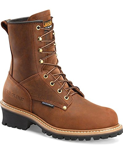 Carolina Men's Waterproof Logger Boot- Steel Toe Brown 8.5 D(M) US (Carolina Mens Leather)