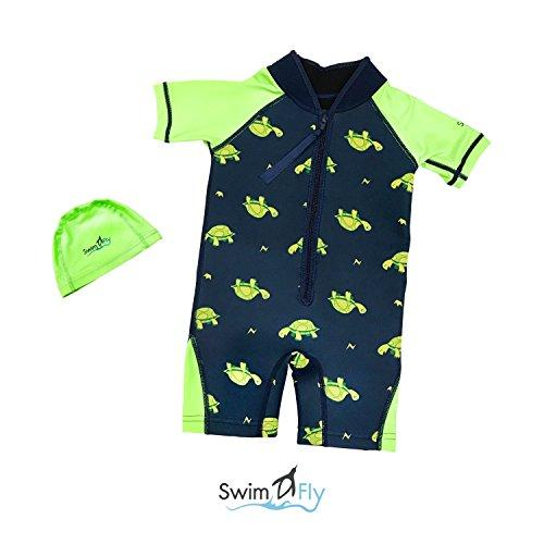 (SwimFly Kids Wetsuit Neoprene/Lycra Shorty with Lycra Swim Cap, for Swim Surf Snorkel (Green- Turtle, XXS, 6-12 mths))