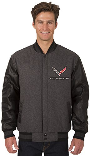 JH DESIGN GROUP Mens Chevy Corvette Wool & Leather Reversible Jacket with Embroidered Emblems (Large, Charcoal Gray-Black) (Leather Reversible Jacket)