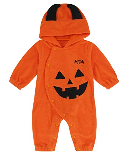 Mombebe Baby Boys Pumpkin Hoodies Romper Toddler Halloween Costume (18-24 Months, Pumpkin)