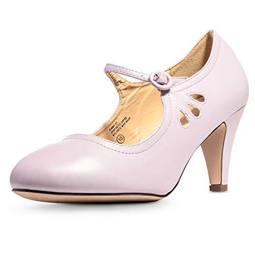 3100558083aad Chase & Chloe Kimmy-21 Women's Round Toe Pierced Mid Heel Mary Jane Style  Dress