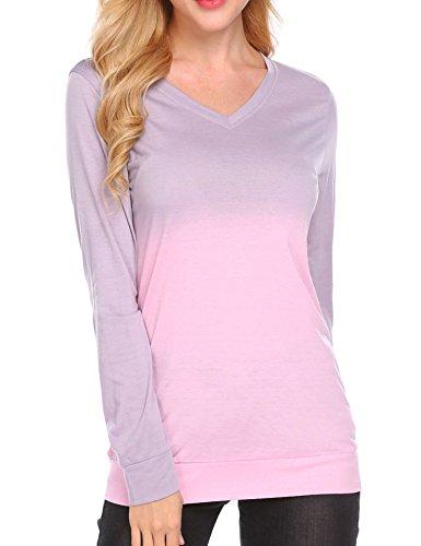 Tie Dye Yoga Top (Miageek Women's Tunic T-Shirt Long Sleeve Loose Fit BlouseTie Dye Ombre Plus size Top,Pink,Small)