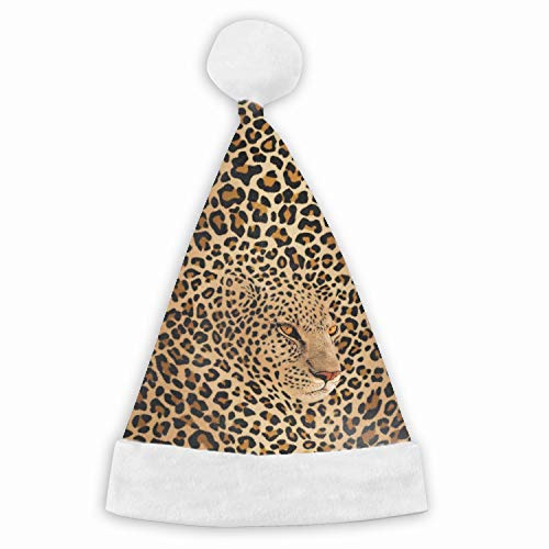 Red Velvet Santa Hats with White Plush for Children and Adults Celebrations and Recreation - Hidden Leopard