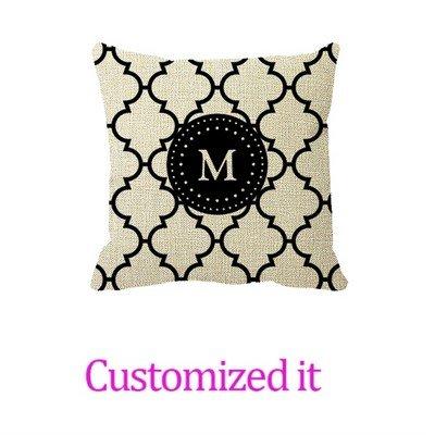 White Black Quatrefoil Pattern Monogrammed Pillow Cover Linen Burlap Throw Pillow Sham Cushion Cover 20 x 20