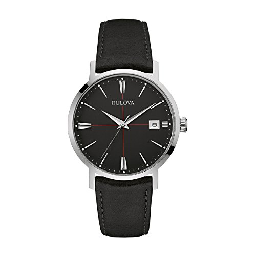 Bulova Mens Collection Watch Bracelet (Bulova mens 96B243 20mm Leather Calfskin Black Watch Bracelet)