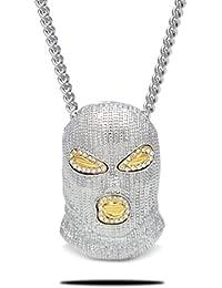 Censtusllery Hip Hop Alloy Crystal Mask Pendant Chain...