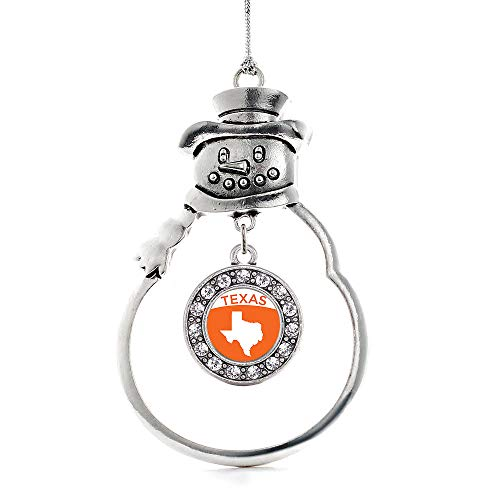 Inspired Silver - Texas Outline Charm Ornament - Silver Circle Charm Snowman Ornament with Cubic Zirconia Jewelry]()