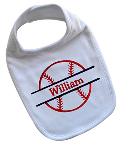 Handmade Baby Boy's BASEBALL Bib Embroidered with CUSTOM Name of Your Choice