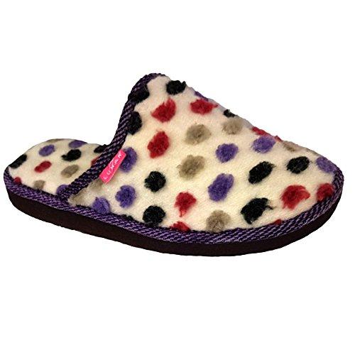 Sapphire Boutique ® Womens Polka Dot Pom Pom Slip On Comfortable Fluffy Mule Firm Sole Slippers Beige FZTiAsQJak