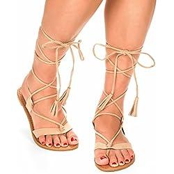 DREAM PAIRS Women's Sammy Nude Gladiator Knee High Flat Sandals - 6.5 M US