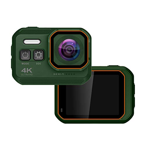Outdoor Action Camera 4K 16MP IP68 33Ft Waterproof Sports Cam 2-inch IPS HD Screen 170 Degree Super Wide Angle Lens Car Camcorder 1050Mah Rechargable Battery (Green)