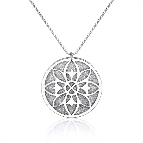 Long Necklaces Round Disk Pendant Necklaces Sliding Statement Necklace for Women Girls Gift for Her (Silver)