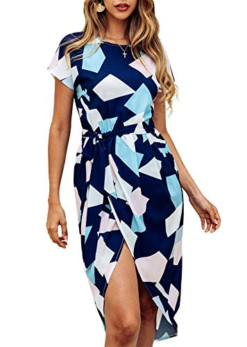 KIRUNDO Women's Summer Casual Dress Round Neck Short Sleeves Strip Geometric Split Maxi Beach Dress with Belt (X-Large, Navy)