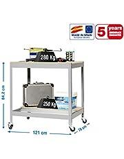 Banco de trabajo con ruedas BT0 Gris/Madera Simonrack 957x1210x760 mms 280 Kgs de capacidad total al llevar ruedas