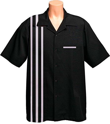 Mens Retro Bowling Vintage Shirt, Black with white ribbing. Ref. Size Medium