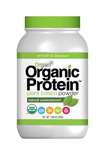 Orgain Organic Plant Based Protein Powder, Natural Unsweetened, 1.59 Pound, 1 Count