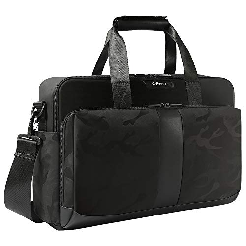 Laptop Bag 15.6 17.3 Inch, Business Briefcase for Men Women, Water Resistant Messenger Shoulder Bag with Strap, Carrying Case Computer Notebook Bag-G-FAVOR, Black (Shoulder Bag Messenger Black)
