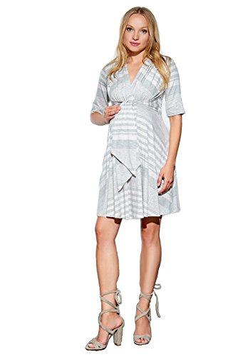 Maternal America Women's Maternity Mini Front Tie Dress, Heather Grey Stripes, L