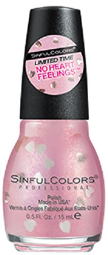 (Sinful Colors Professional Nail Polish #2423 No Heart Feelings (shimmery iridescent light pink with gold heart-shaped glitters) 0.5 Fl Oz)