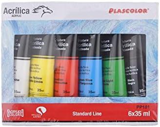 Plascolor PP181 - Pack de 6 tubos de pintura acrílica, multicolor ...