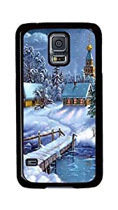Samsung Galaxy S5 Case, S5 Cases - Santa Claus Snow House Ultimate Protection Scratch Proof Soft TPU Rubber Bumper Case for Samsung Galaxy S5 I9600 Black