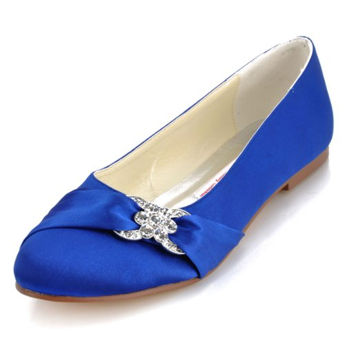 Elegantpark Toe Shoes Women Round Wedding Rhinestones Satin EP2006 Flat Blue xpWTHqrx7w