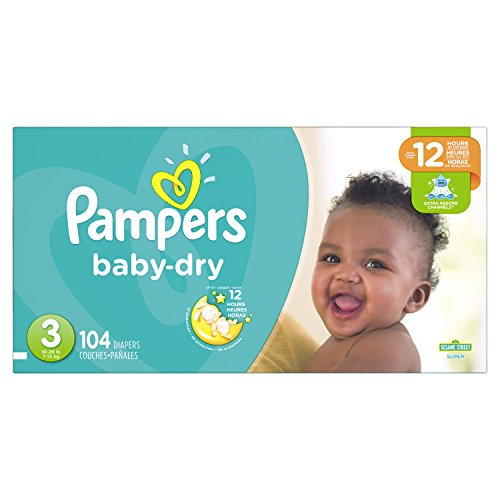 Pampers Baby-Dry Disposable Diapers Size 3, 104 Count, SUPER
