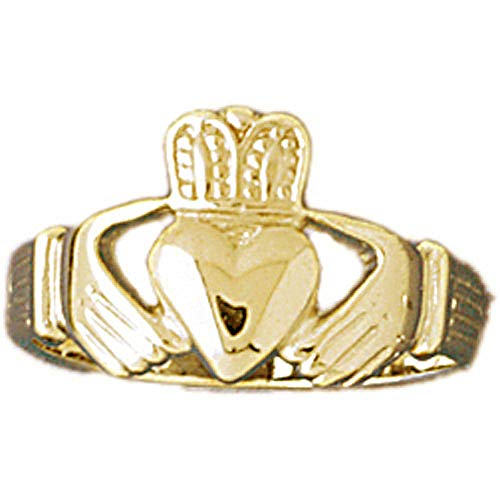 Jewels Obsession Claddagh Rings | Yellow Gold-plated 925 Sterling Silver Hands Holding Heart Claddagh Ring - Made in USA (Custom Sizes Available 4-11)