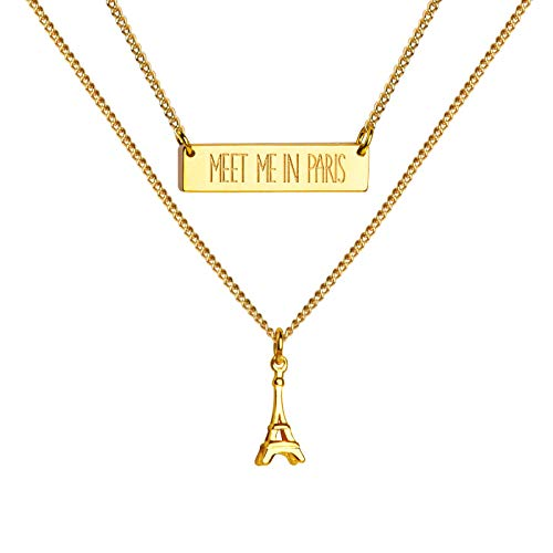 Girafe Gold Layered Necklace, Meet Me in Paris Engraved Bar Necklace with Eiffel Tower Charm