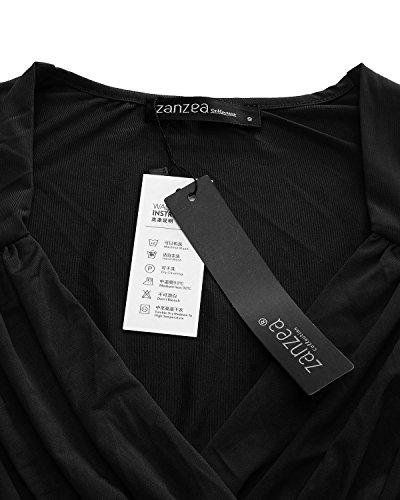 ZANZEA Mujer Blusa Camiseta Elegante Mangas Largas Moda Escote V Cruzado negro