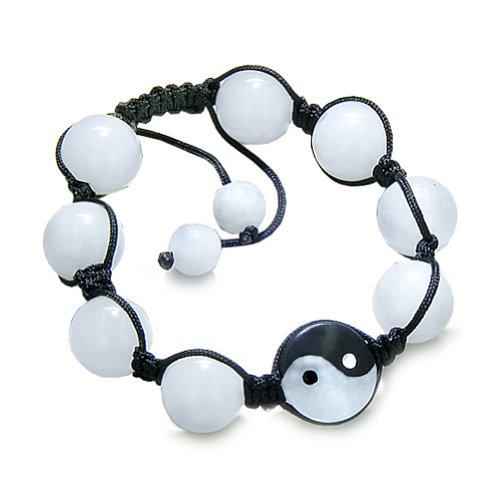 Yin Yang Balance pouvoirs Noir obsidienne oeil Blanc-Bracelet à Quartz les énergies positives