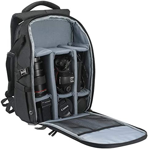 "BELONGME Camera Backpack with Laptop Compartment 15.6"", Waterproof Camera Bags for Photographers, Large Storage Camera Bag for DSLR/SLR Mirrorless Camera, Lens, Tripod and Other Accessories - Black"