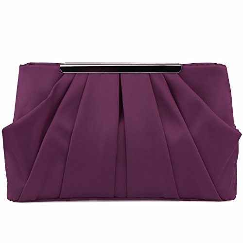 Womens Pleated Satin Evening Handbag Clutch With Detachable Chain Strap Wedding Cocktail Party Bag Purple