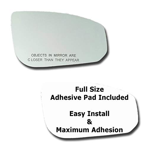 (Mirror Glass + Full Size Adhesive Pad for 2004-2008 Nissan Maxima Passenger Side Replacement)