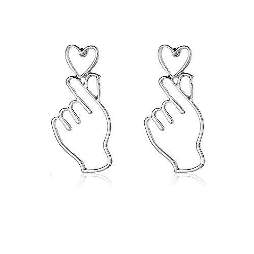 Hollow Metal Finger Heart Dangle Earrings For Women European Fashion Jewelry Accessories (Silver)